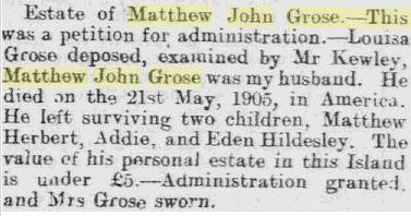 MJ Grose estate Monas Herald Wednesday, April 11 1906 Page 5